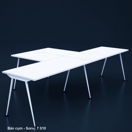 Thiết kế & Thi công nội thất văn phòng – Bàn cụm – Sonic T 010